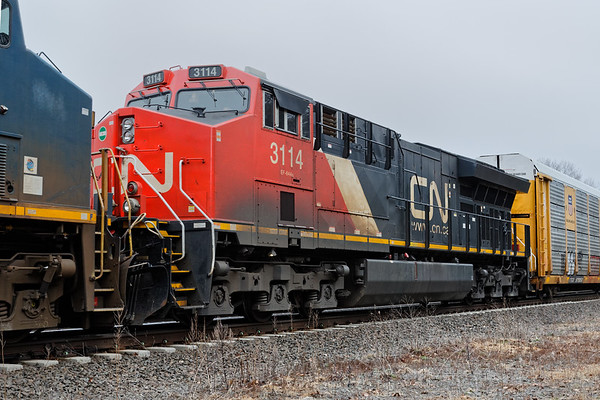 Todays Q264 was lead by CN 3114 and two CSX units as well as another CN unit as DPU.<br /> 4/8/2019