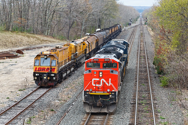 Q264 light power was the last train the rail grinder had to wait for. CN 8944 was trailing when 264 came east so they had to go all the way to Framingham to turn the power to go west.<br /> 5/1/2019