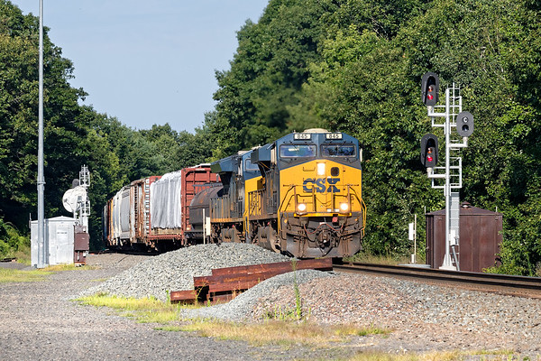 With two units on the point and one DPU pushing, train Q426 splits the signals at MP57 in Charlton MA.<br /> 8/15/2019