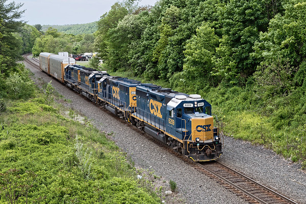 B740 rolls through West Warren with 2 auto racks for the EBSR  in East Brookfield.<br /> 5/28/2019