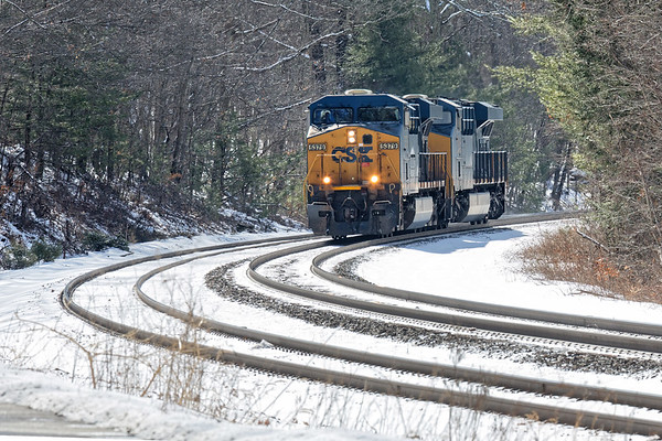 Two units light power head west through the S-curves at MP60 in Spencer MA.<br /> 3/3/2019