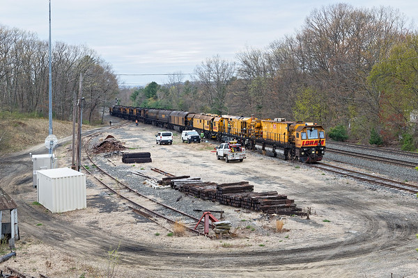 The LORAM rail grinder spent an overnight in the small yard at MP64 in East Brookfield MA.<br /> 5/1/2019