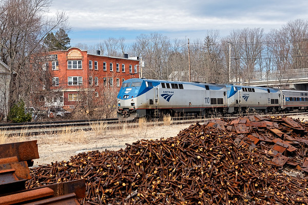 Amtrak 449, the Lake Shore Limited, rolls through MP64 in East Brookfield MA.<br /> 4/11/2019