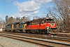 B740 light power picks up P&W 2215 in the Palmer MA yard.<br /> 3/18/2019