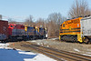 Meet you at the diamond...<br /> NECR train 608 eases across the Palmer MA diamond as train 603 pulls out of the CSX yard on the lead.<br /> 2/26/2019