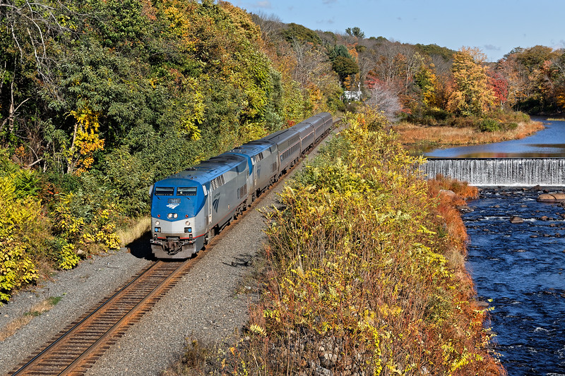 Amtrak 449 running on time through the changing landscape in West Warren MA.<br /> 10/14/2019
