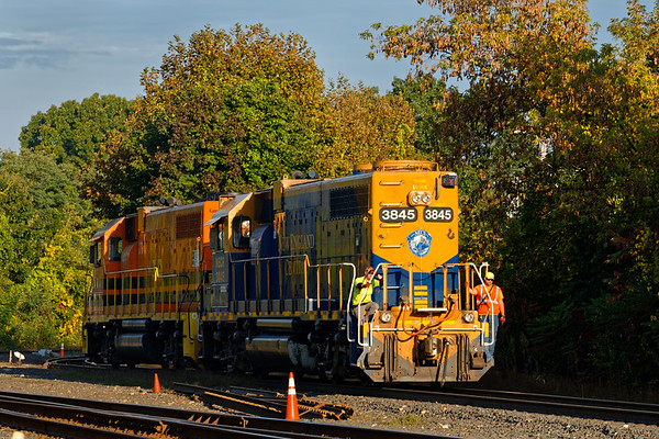 Golden early morning light on the nose of NECR 3845 as she eases into the CSX yard at MP83.<br /> 10/2/2019