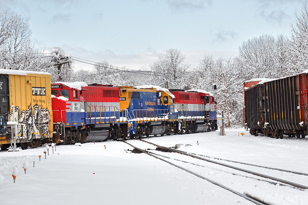 After the snow - NECR train 608 crosses the Palmer MA diamond the morning after our late season snowstorm.<br /> 3/4/2019