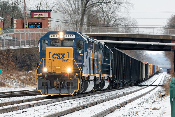 With 69 cars for Springfield in tow, train B740 departs Palmer MA.<br /> 12/31/2019