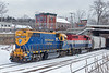 NECR 3845 and 3039 shove a long cut of cars into the CSX yard at MP83 in Palmer MA.<br /> 1/23/2019