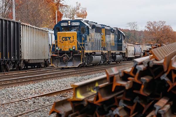 In the yard at Palmer MA, B740 holds the siding as Mass Central finishes switching.<br /> 10/30/2019