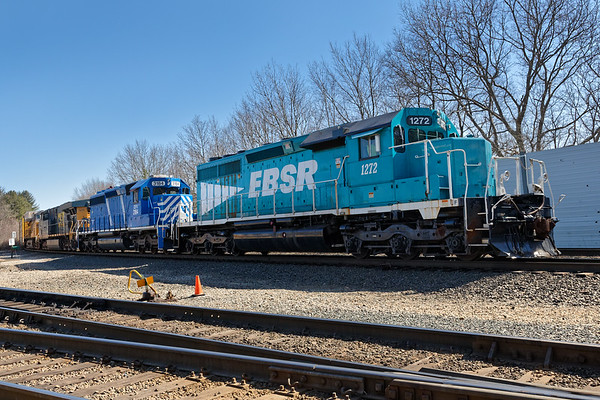 The EBSR was switching with a rather interesting consist today. On the nose was EBSR 1272 followed by CEFX 3184, CSX 5275 and last but not least, UP 6597.<br /> 4/4/2019