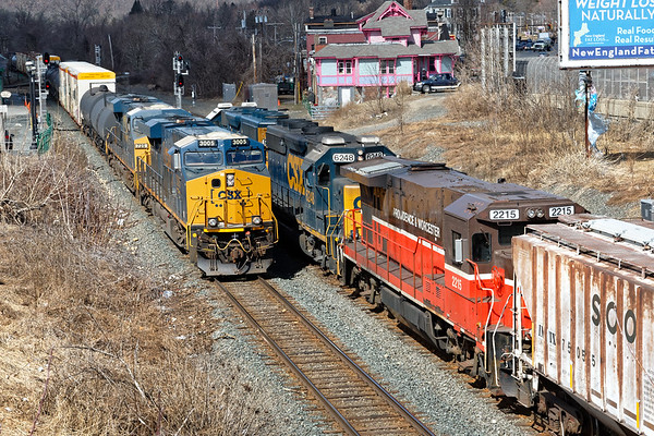 With P&W 2215 dead in tow, train B740 holds the siding at MP83 as train Q436 heads east on the main.<br /> 3/18/2019