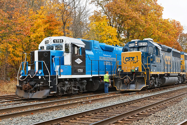 Having finished switching, MCER 1751 eases out of the Palmer MA yard clearing the way for B740 to make up their train.<br /> 10/30/2019
