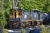 Two of the Grafton & Upton's three ex-CSX MP15ACs switch their transload yard in North Grafton MA.<br /> 5/27/2020