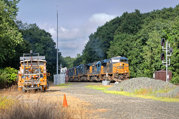 The B&A was busy this morning - starting at MP57 with Q436 with 6 units on the point and a DPU.<br /> 8/17/2020