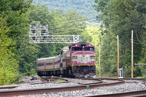 Beginning it's run into Boston, MBTA 1127 pushes out of the Wachusett station in Fitchburg.<br /> 8/28/2020