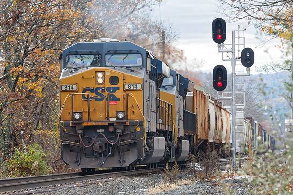 Q436 makes a reverse move through MP79 onto the main with the same cut of cars which will end up on track 4 in the Palmer yard.<br /> 11/1/2020