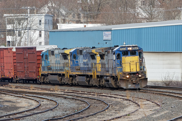 I spent some time on the B&M yesterday.<br /> Pulling out of the Gardner yard was EDPO with a typical PAS consist of classy looking brand-new-used CSX power!<br /> 4/15/2020