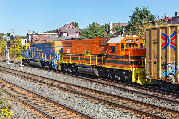 NECR 3850 on the yard lead with 2151 dead in tow, going via CSX to Larry's Truck and Electric with a blown piston in the prime mover.<br /> 10/14/2020