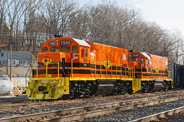 Two York Rail units in new G&W paint were in the Palmer MA yard apparently waiting to go out on CSX.<br /> 11/22/2020