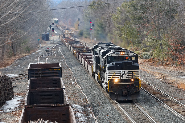 Due to the partial collapses in the Hoosac Tunnel, there have been a number of detours of NS trains on the B&A. Yesterday I caught Z016 coming through MP64 in East Brookfield and even though the tunnel repairs may take weeks, from the sounds of it this may be it for detours on the B&A.<br /> 2/20/2020