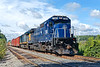 Pan Am train EDPO eases past Wagon Wheel in Ayer MA on it's way to Portland ME.<br /> 8/28/2020