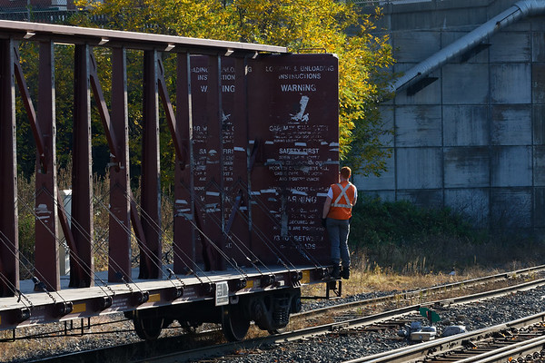 The human element in railroading - enjoying a balmy Fall day.<br /> 10/22/2020