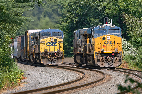 With Q264 light power holding the siding, Q426 charges through the S-curves at MP60 on the main.<br /> 8/17/2020