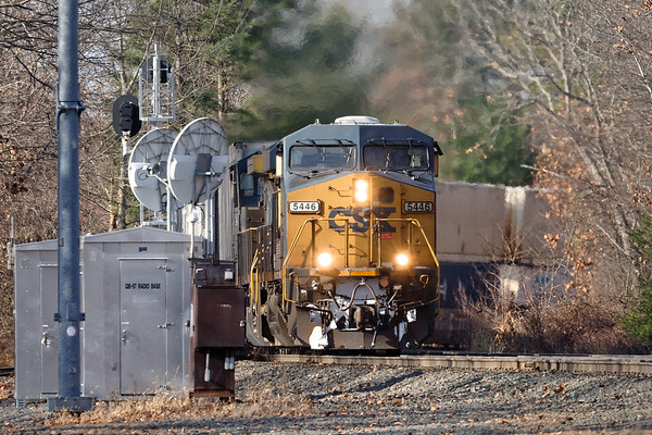 Train Q022 rounds the curve at MP57 in Charlton MA.<br /> 11/19/2020