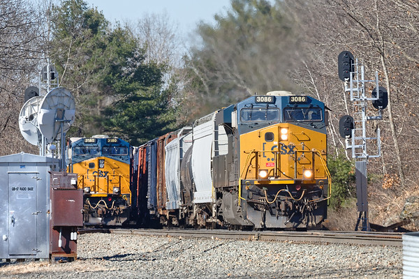 The Charlton MA MP57 hotspot continued yesterday with a mixed freight (426?) in the hole on the main and a couple of trains leapfrogging around him, including this loooong mixed freight (436?) with one unit on the point and a mid train DPU.<br /> Hey, if you have to self quarantine, why not in your car by the railroad...?<br /> 4/16/2020