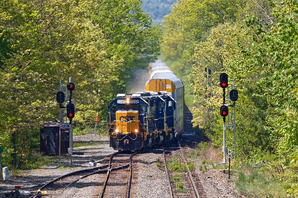 B740 pulls into MP64 in East Brookfield with about 40 auto racks for the EBSR.<br /> 5/26/2020