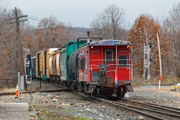 Something you'll rarely see on CSX these days - FRED flashing goodbye on a caboose on train B740.<br /> 11/11/2020