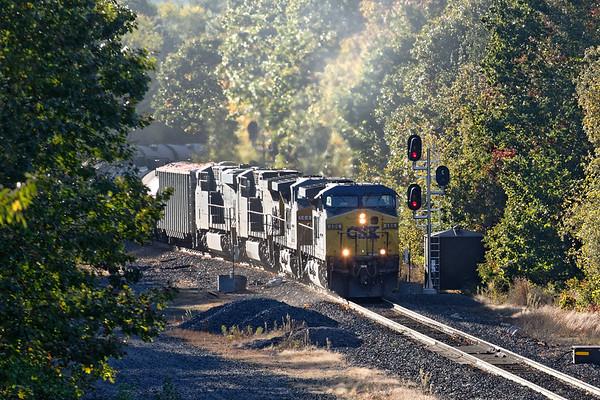 Train K608 comes into view at MP57 in Charlton MA.<br /> 10/8/2020