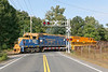 "At ""Hospital"" crossing in Palmer, NECR 3857 and  3015  lead a train southbound to Monson MA.<br /> 9/16/2020"