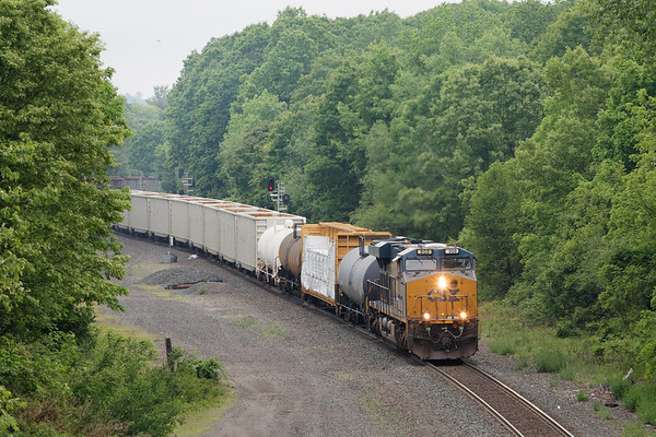 Q436 cuts through the early morning drizzle at MP57 in Charlton MA.<br /> 6/5/2020