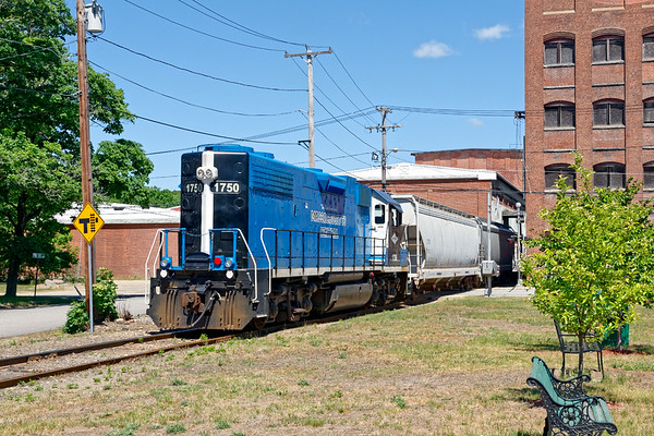 Switching duties completed, MCER 1750 heads back up the hill from the South Barre mill complex.<br /> 6/8/2020