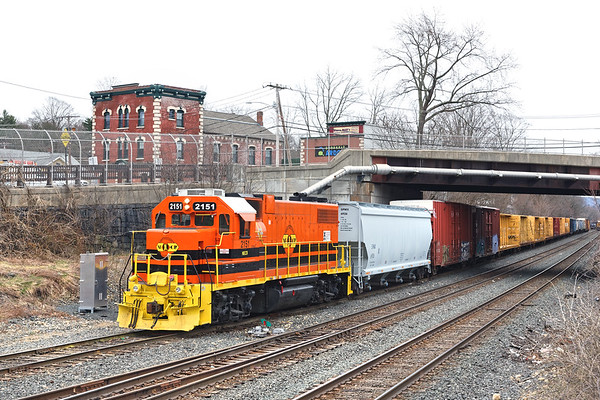 NECR 2151 on the yard lead at MP83 in Palmer MA.<br /> 3/30/2020