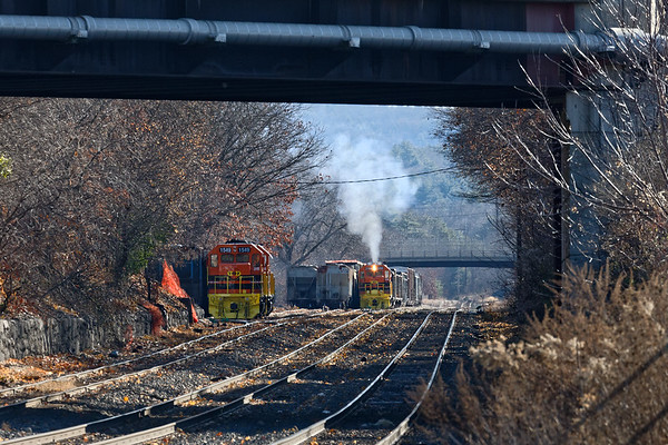 Deep in the CSX yard, NECR 2168 does it's best imitation of a steam engine!<br /> 11/16/2020