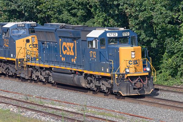 CSX SD40E3 1712 at MP64 in East Brookfield MA.<br /> 8/6/2020
