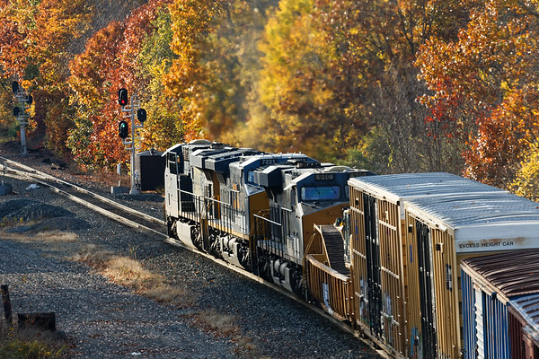 Heading into the setting sun at MP57 in Charlton MA, Q427 seemed like an average mixed freight but on the tail end......<br /> 10/26/2020