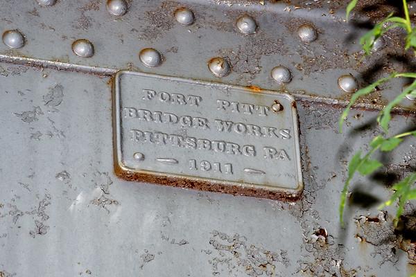 Builder's Plate - 1911 railroad bridge in Warren MA.<br /> 7/12/2020
