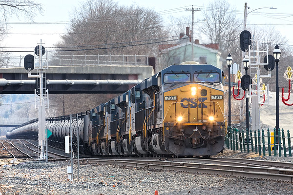 An empty ethanol train headed west from Worcester today. In East Brookfield, they picked up 4 more units from the EBSR - light power from two days worth of Q264 auto trains.<br /> 1/7/2020
