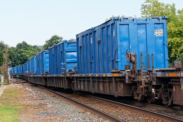 Q436 had a long string of these blue containers - for dirty dirt?<br /> 7/31/2020