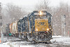 Train B740 hits the diamond at MP83 in Palmer MA during a heavy snow squall.<br /> 1/6/2020