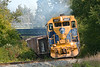 Pulling hard up the grade from under Rte 32, NECR 3857 leads a southbound into Monson MA.<br /> 9/16/2020