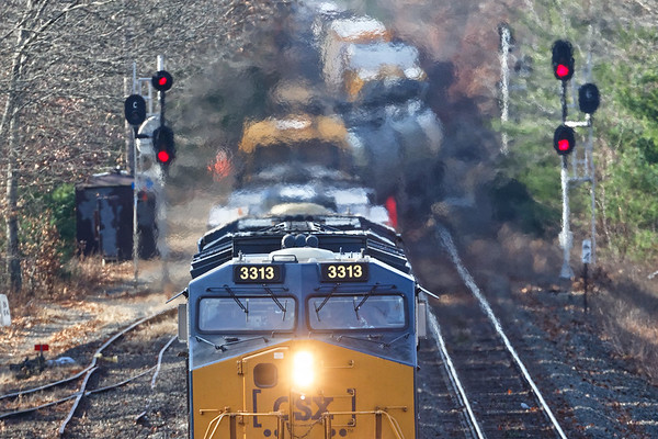 This last shot of Q436, with plenty of jello air, is from the bridge at MP64 in East Brookfield MA.<br /> 11/20/2020