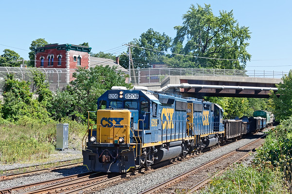 B740 pulls out of the CSX yard at MP83 in Palmer MA.<br /> 8/26/2020