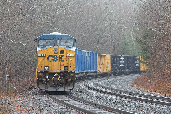 Mystery westbound train tied down in the fog at MP60 in Spencer MA.<br /> 4/3/2020