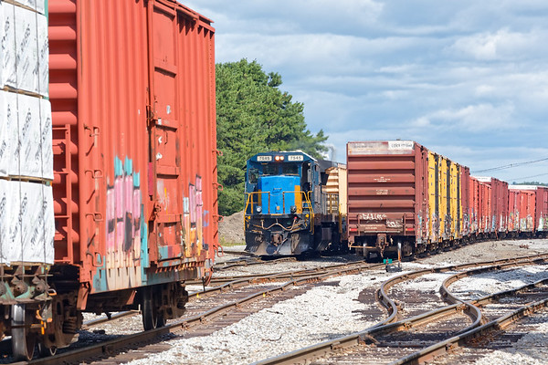 AY-1 (MEC 7545) switches the south end of the Hill yard in Ayer MA.<br /> 8/28/2020